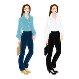 Business women in blue and black formal clothes. Vector illustration of corporate dress code. Business women in blue and black formal clothes and classic shoes Royalty Free Stock Photography