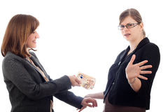 Business women bribery Royalty Free Stock Images