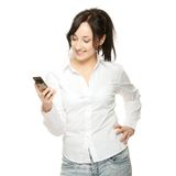 Business women calling by cellular phone Stock Images