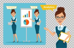 Business women characters.Girl is speaking and pointing.Girl is showing profit growth graph, girl is calculating finance. Set of business women characters. Three Stock Photo
