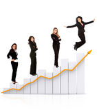 Business women on a chart Royalty Free Stock Photography