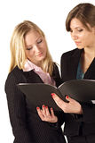 Business women checking a file. Two pretty young business women reading over a file togther, isolated on a white background Royalty Free Stock Images