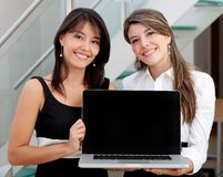 Business women with a computer Royalty Free Stock Images