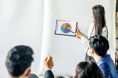 Business women conference presentation with team training. Flipchart office stock photo