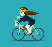 Business women cycling to work. Stock Photography