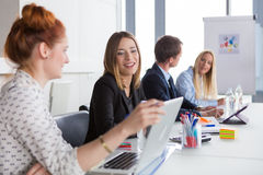 Business women discussing project during the meeting Stock Image