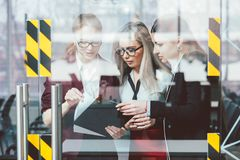 Business women empowerment manager discussion. Successful business women. Female empowerment. Smart professional managers discuss company affairs royalty free stock photos