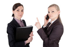 Business women with file folder and phone Stock Photos