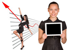 Business women and graphical chart Stock Photos