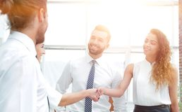 Business women greet each other with a handshake. Before the start of the presentation Stock Photography