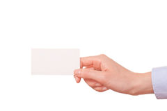 Business women handing a business card Stock Images
