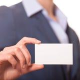 Business women handing a business card Stock Image