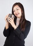 Business women are happy to drink coffee Stock Photography