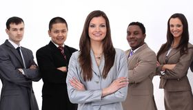 Business woman with a multi-ethnic business team Stock Image