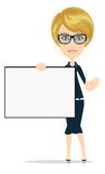 Business women holding big blank paper .Vector Royalty Free Stock Image