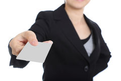 Business women holding name card Stock Image