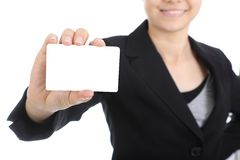 Business women holding name card Royalty Free Stock Photo