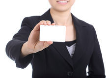 Business women holding name card Stock Photo