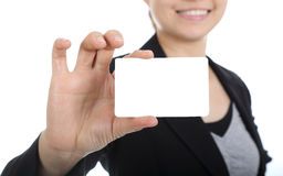Business women holding name card Stock Photos