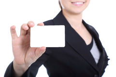 Business women holding name card Royalty Free Stock Images