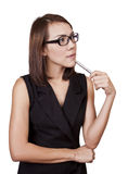 Business Women holding a pen. Royalty Free Stock Photography
