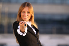 Business women with keys stock images