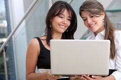 Business women with a laptop Royalty Free Stock Photo