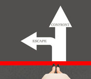 Business women leg standing on red line with text escape and con. Front on ground street arrow, concept of decision when meet problems Royalty Free Stock Photography