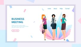 Business women on meeting. Three cartoon businesswomen in flat style. Landing page concept. Usable for website, homepage. Vector illustration vector illustration