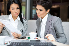 Business women in meeting. Two business women in meeting stock photography