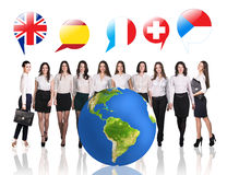 Business women near big earth and flag bubbles. Elements of this image furnished by NASA Stock Photography