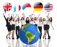 Business women near big earth and flag bubbles Royalty Free Stock Photography