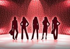 Business women with numbers. Silhouettes of five business women Stock Images