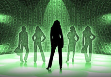 Business women with numbers Stock Photo
