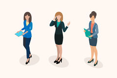 Business women office staff. Business women office workers during negotiations and office management activities. Business concept flat 3d isometric infographic Royalty Free Stock Photos