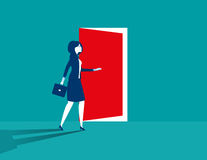Business women opening door. Concept business illustration. Vector flat Royalty Free Stock Images