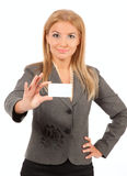 Business woman over white Stock Photos