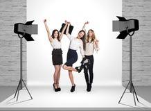 Business women in photo studio Stock Images