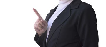 Business women pointing finger to empty space stock images