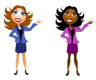 Business Women Presenters. A clip art illustration of caucasian and african american business women smiling with hand raised as to be pointing to or presenting royalty free illustration
