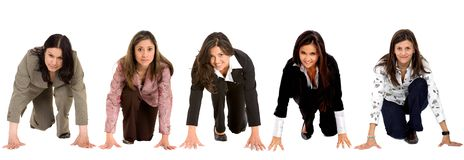 Business women ready to race Royalty Free Stock Photos