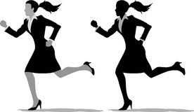 Business women running. 2 different version of a business woman running Stock Photos