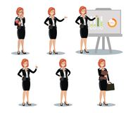Business woman in various poses. Flat design. Stock Images