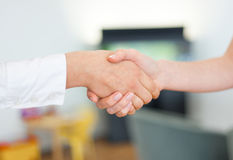 Business women shaking hands. Two young business women shaking hands Royalty Free Stock Photography