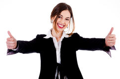Business women showing thumbs up Stock Images