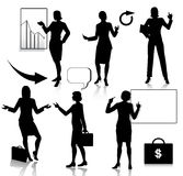 Business women silhouettes set Stock Photos