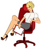 Business Women Sits In A Chair In Office Royalty Free Stock Image