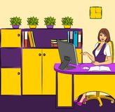 Business Women Sits In A Chair In Office Royalty Free Stock Photos