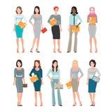 Business Women in smart suit on white. vector illustration