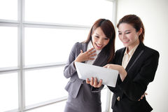 Business women smile conversation Stock Photo